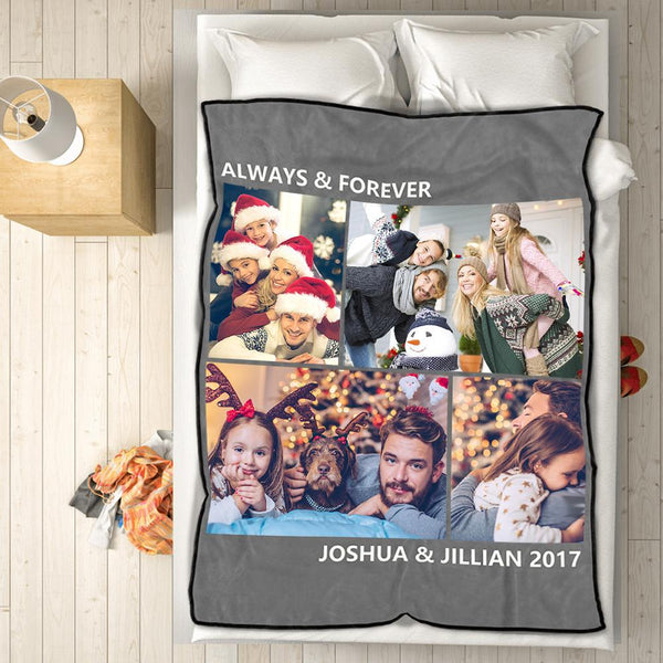 Custom Fleece Photo Blanket Christmas Gifts