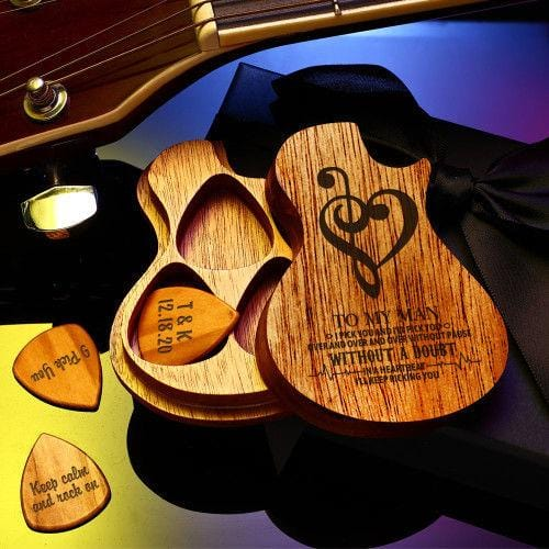 Guitar Wood Picks Box Guitar-Shaped Picks Box Plectrum Container 3pcs