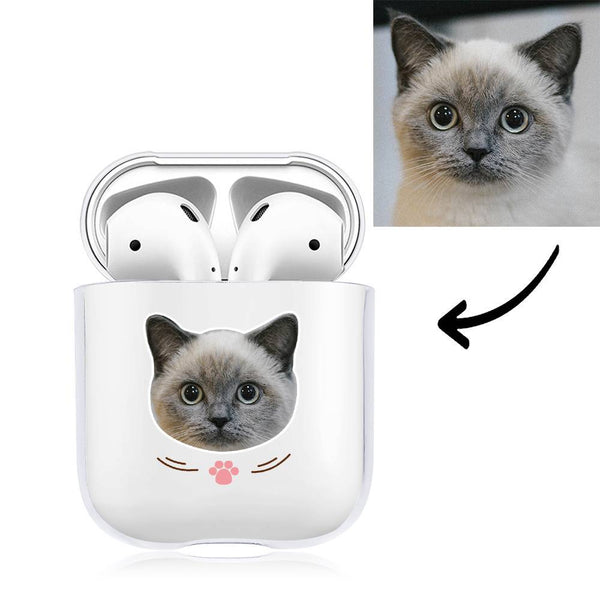 Custom Photo Earphone Case for AirPods Cat Transparent - Avatar