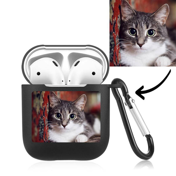 Custom Photo Earphone Case for AirPods Cat - Black
