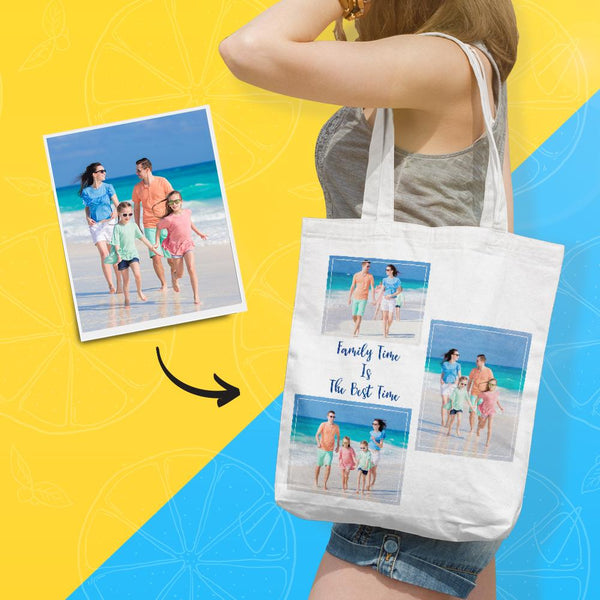 Photo Collage Canvas Tote Bag Custom Tote Bag with Photo & Text