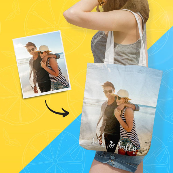 Custom Tote Bag with Photo & Text Double-sided Printing