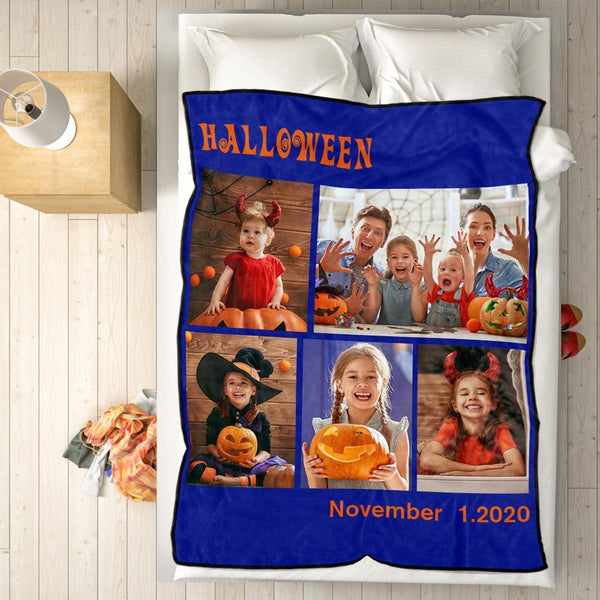 Custom Halloween Family Photo Blanket Custom Collage Blanket With 5 Photos