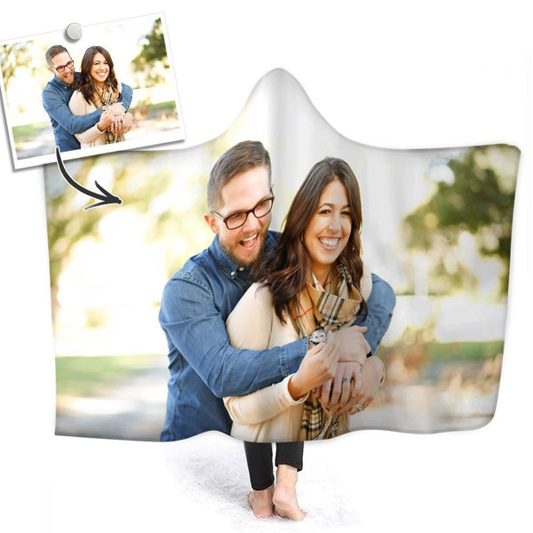 Custom Photo Hooded Blanket Air Conditioning Blanket Wrap with Soft Flannel for Couple