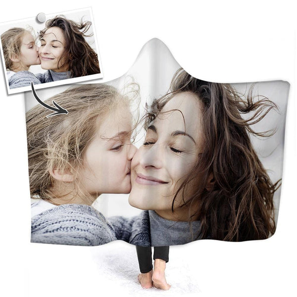 Custom Photo Hooded Blanket Air Conditioning Blanket Wrap with Soft Flannel I Love Mom