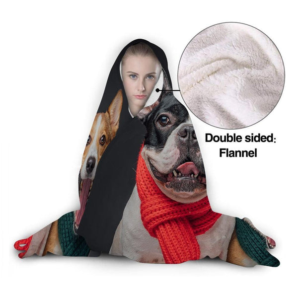 Custom Photo Hooded Blanket Air Conditioning Blanket Wrap with Soft Flannel for Pet Lovers
