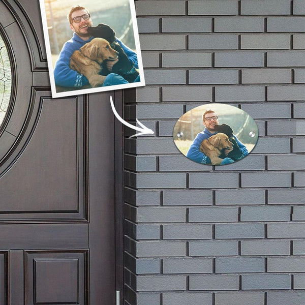 Custom Photo Door Signs Personalized Door Plates Oval - Pet Lover Gifts