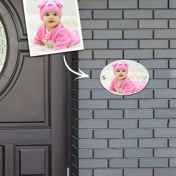 Custom Photo Door Signs Personalized Door Plates Oval - Baby Newborn Gifts