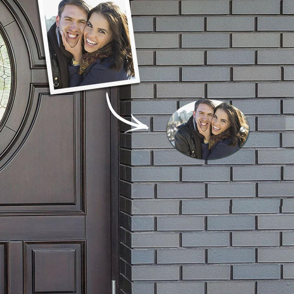 Custom Photo Door Signs Personalized Door Plates Oval - Couple