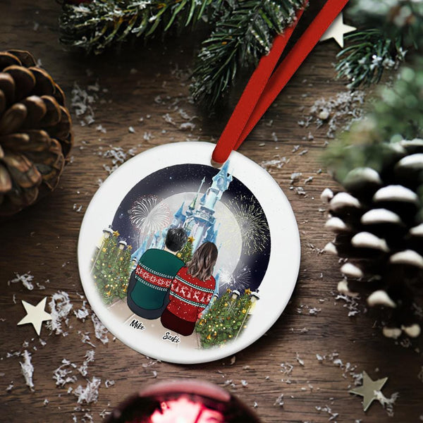 Custom Christmas Tree Decor Personalized Ceramics Engraved Ornament Christmas Gift For Couple