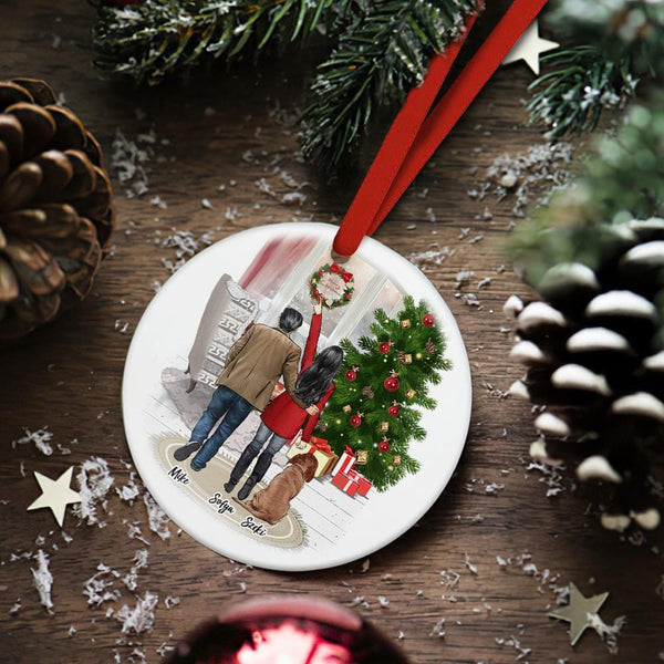 Custom Christmas Tree Decor Personalized Ceramics Engraved Ornament Christmas Gift For Him