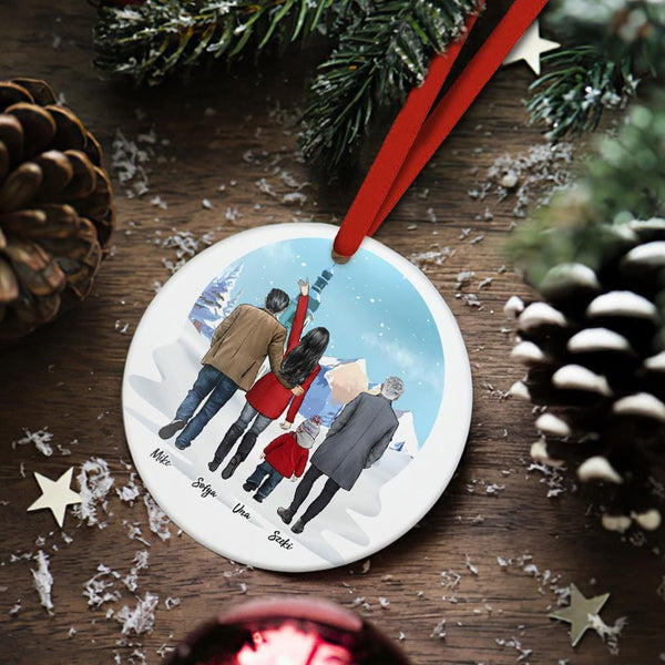 Custom Family Photo Christmas Tree Decor Personalized Ceramics Engraved Ornament Christmas Gift