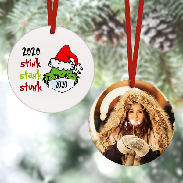 Christmas Hat Grinch 2020 Stink Stank Stunk Hanging Ornament Christmas Gifts 2 Sided