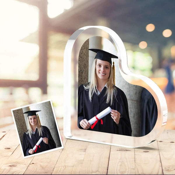 Photo Glass Acrylic Photo Frame Heart Shaped High School Graduation Gifts for Her