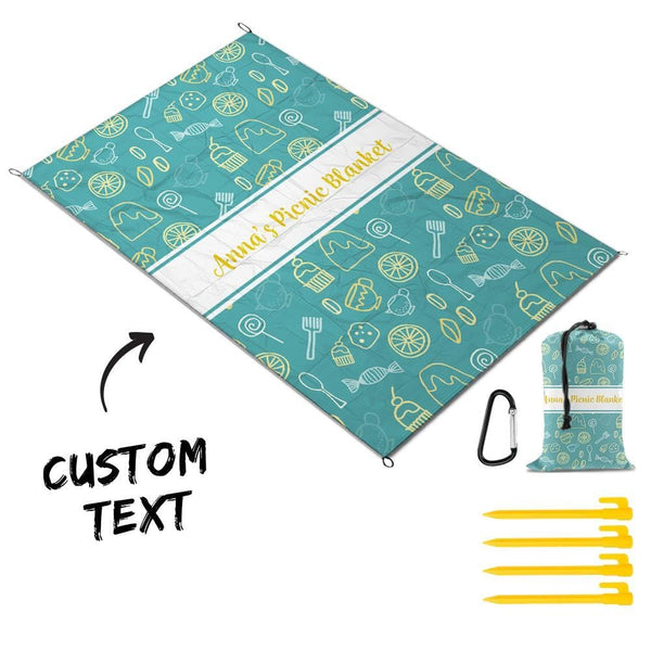 Custom Text Picnic Blanket Fresh Style Travel Mat