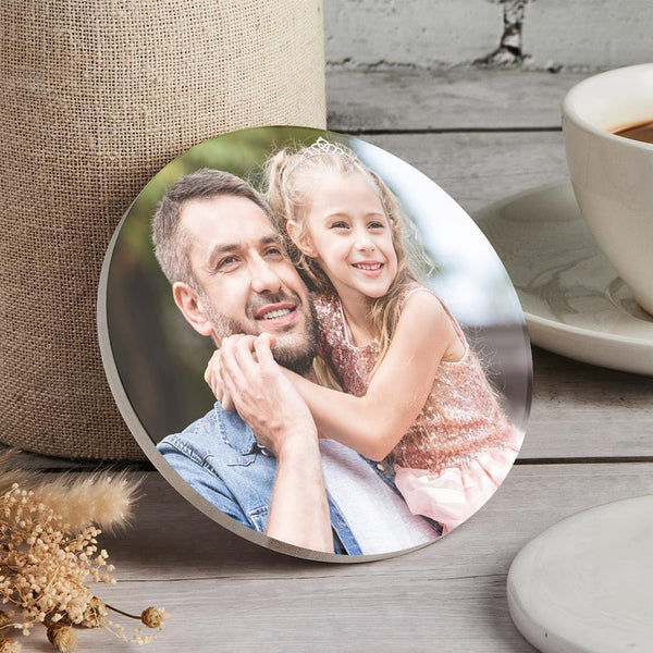 Custom Round Photo Coaster for Father