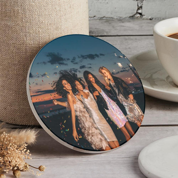 Custom Round Photo Coaster for Friend