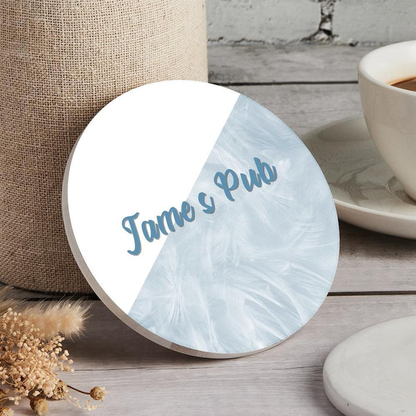 Custom Engraved Coaster Round - Blue and White
