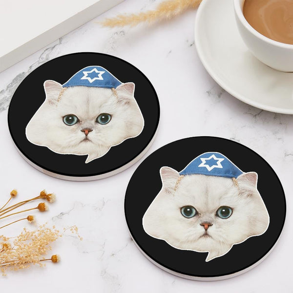 Personalized Face Coaster Round Coaster Cute Cats