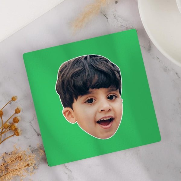 Custom Photo Face Coaster Square Gift Little Boy