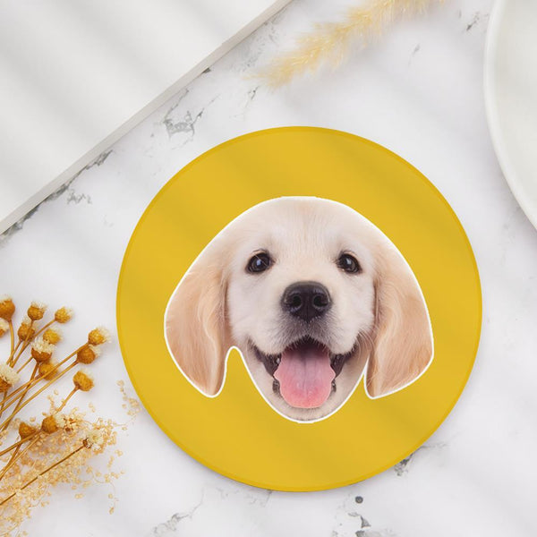 Custom Photo Face Coaster Round Gift for Dog Lover
