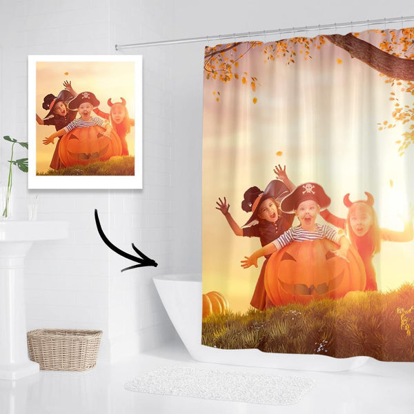 Custom Halloween Photo Shower Curtain Unique Gift Waterproof Shower Curtain