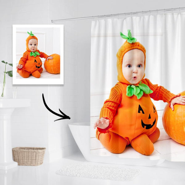 Custom Halloween Photo Shower Curtain Pumpkin Waterproof Shower Curtain