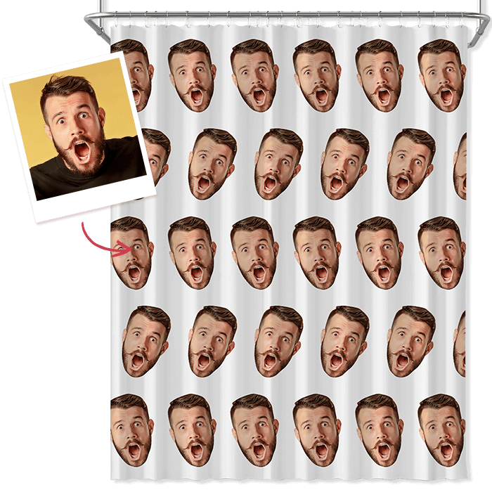 Custom Face Shower Curtain Funny Curtain Family Gift