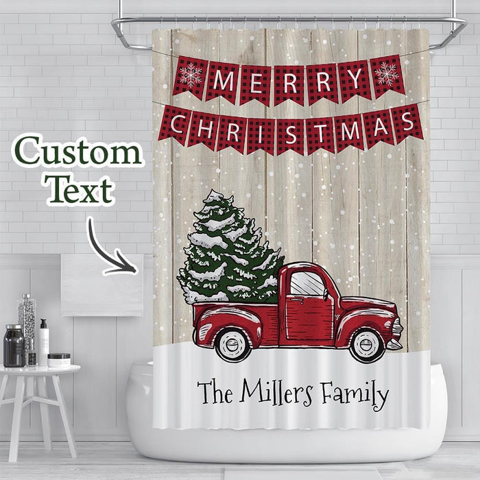 Custom Text Shower Curtain Custom Merry Christmas Car Waterproof Curtain Christmas Gift