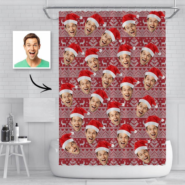 Custom Face Photo Shower Curtain Funny Christmas Hat Curtain Christmas Gift