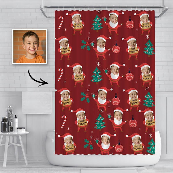 Custom Kids Face Photo Shower Curtain Funny  Santa Claus Curtain Christmas Gif
