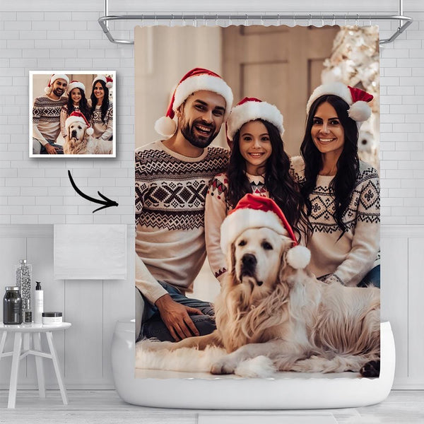 Custom Family Photo Shower Curtain Personalized Christmas Picture Waterproof Shower Curtain Christmas Gift