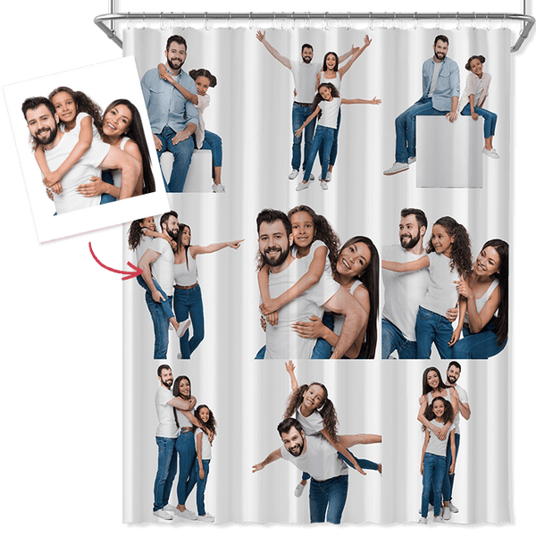 Custom Multi Photo Shower Curtain Personalized Photo Curtain Gifts for Her