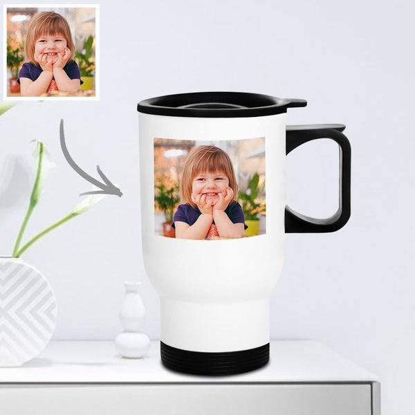 Personalized Travel Mug with Lid Reusable 400ml - Cute Kids
