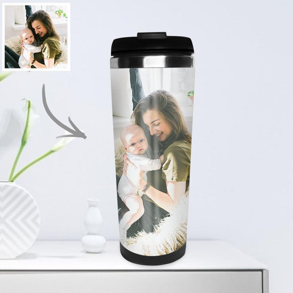Personalized Coffee Cup Travel Mugs Portable with Photo 400ml - I Love Mom