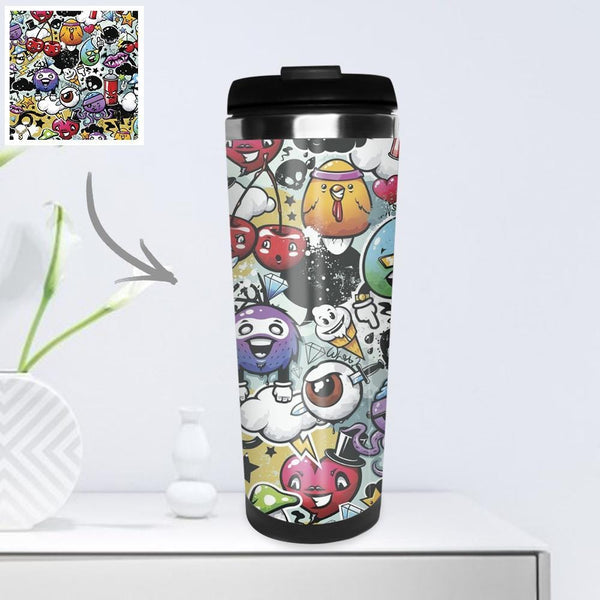 Personalized Coffee Cup Travel Mugs Portable with Photo 400ml - Cartoon