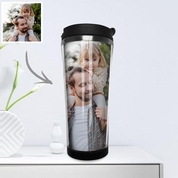 Custom Photo Coffee Cup Mini Travel Mugs Portable Stainless Steel 420ml - Thank You Daddy & Mommy