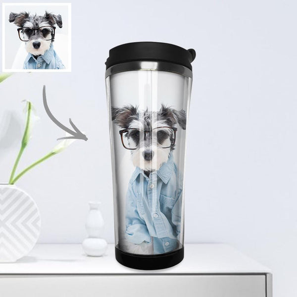 Custom Photo Coffee Cup Mini Travel Mugs Portable Stainless Steel 420ml - Puppy Love