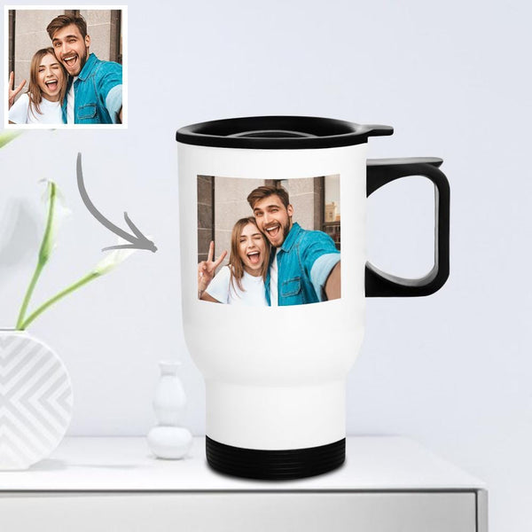 Personalized Travel Mug with Lid Reusable 400ml - Forever Love Gifts