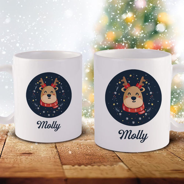 Christmas Gift Custom Text Mug Personalized Ceramic Mug Christmas Elk Mug For Unisex