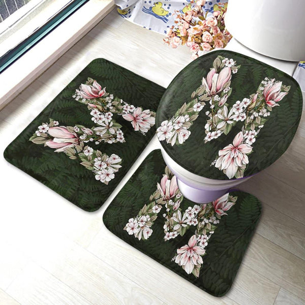 Water Absorption Non Slip Bath Toilet Floor Mat 3 Piece Set for Family 15*23inch