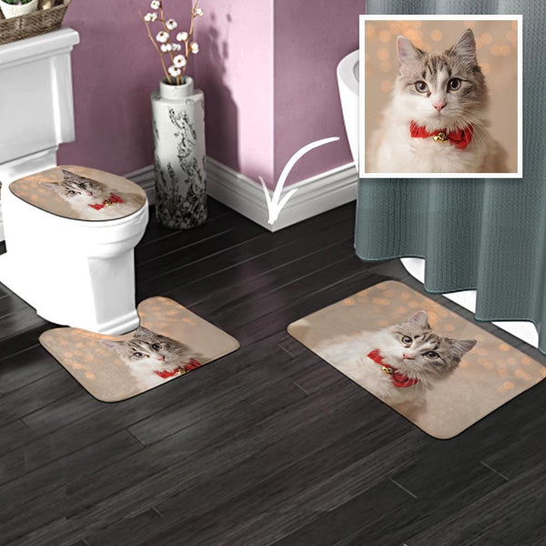 Custom Photo Bathroom Antiskid Pad 3pcs Bathroom Rug