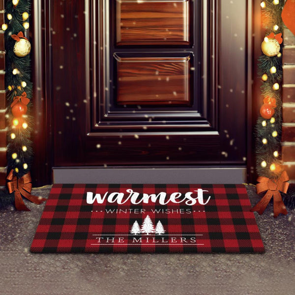 Custom Text Doormat Personalized Christmas Plaid Doormat Gift