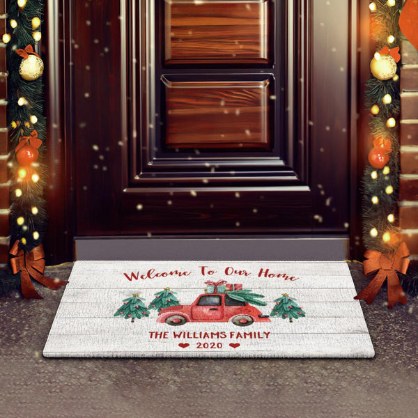 Custom Text Doormat Personalized Welcome Doormat Christmas Gift White