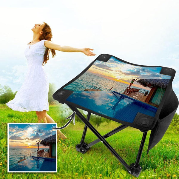 Custom Photo Camping Stool Folding Portable  Chair for Picnic Travel