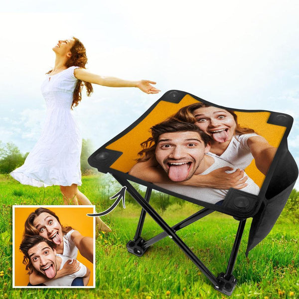 Custom Photo Camping Stool Folding Portable Camping Chair Outdoor Slacker Chair for Hiking