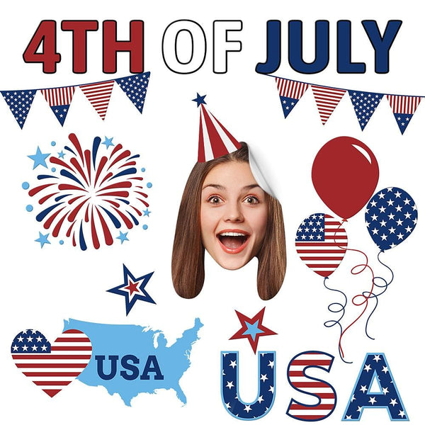 Custom Photo Face Sticker Independence Day the Fourth of July