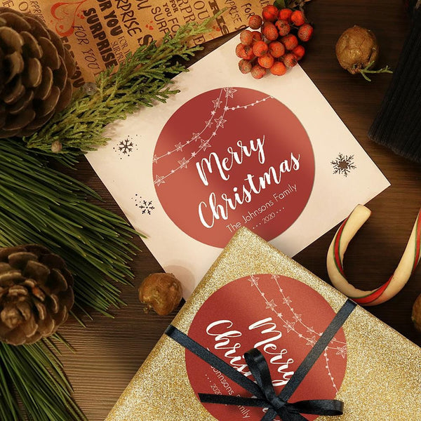 12Pcs/set Custom Text Opaque Stickers Personalized Merry Christmas Round Red Stickers 25*19 CM