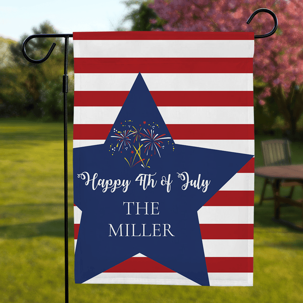 Cutsom Text Garden Flag Happy 4th of July Decoration Flag