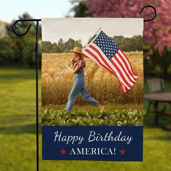 Personalized Garden Flag Happy Birthday America